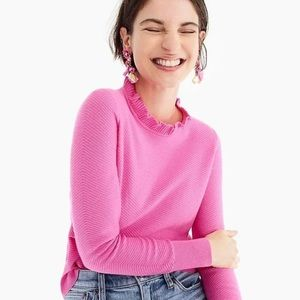 J Crew Ruffle-neck Pullover Sweater - Size Small